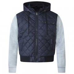 D555 Willie Hooded Quilted Jacket with Fleece sleeves