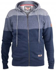 D555 Columbus Cut And Sew Panelled Zip Through Hoody Blue
