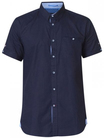 D555 Tim Short Sleeve Shirt Navy - Skjortor - Stora skjortor - 2XL-8XL