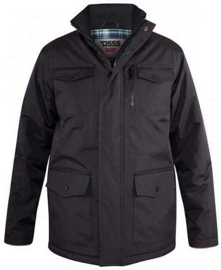 D555 Fargo Five Pocket Jacket With Ribbed Neck and Inner Quilting Black - Jackor & Regnkläder - Stora jackor - 2XL-8XL
