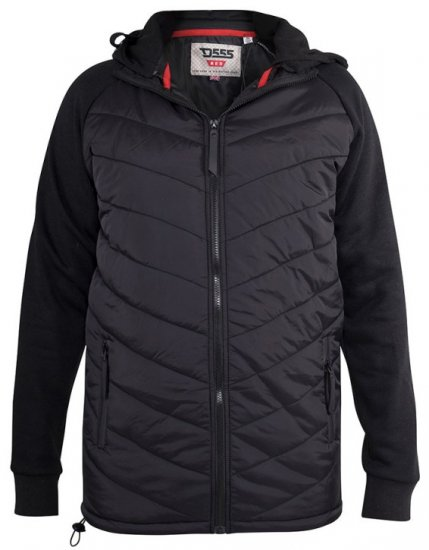 D555 Thorpe Hooded Quilted Jacket With Fleece Sleeves And Removable Fleece Hood - Jackor & Regnkläder - Stora jackor - 2XL-8XL