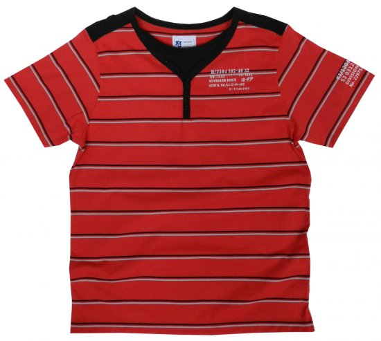 Kam Jeans Y-neck Red Stripe Tee - T-shirts - Stora T-shirts - 2XL-8XL