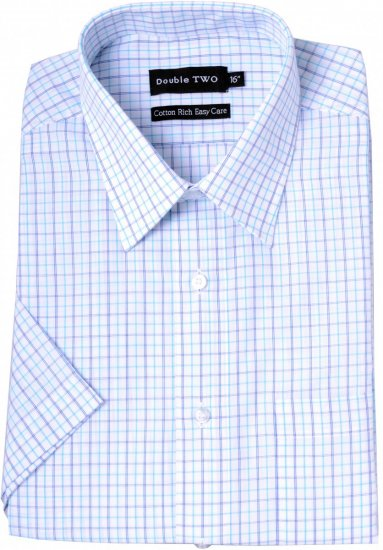 Double TWO Formal Shirt Aqua - Skjortor - Stora skjortor - 2XL-8XL