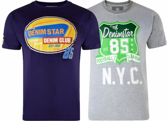 Kam Jeans Star 2-pack T-shirt Grey/Purple - T-shirts - Stora T-shirts - 2XL-8XL