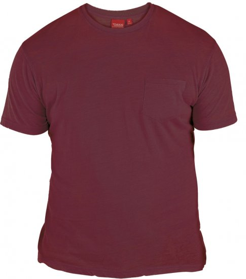 D555 Mavi T-shirt Burgundy with Pocket - T-shirts - Stora T-shirts - 2XL-8XL