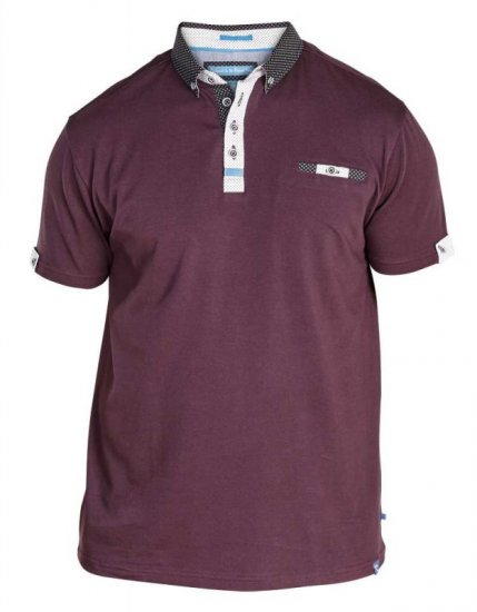 D555 Edger Stretch Cotton Polo Dark Burgundy - Pikétröjor - Stora pikétröjor - 2XL-8XL