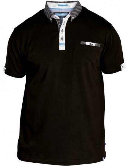D555 Edger Stretch Cotton Polo Black - Pikétröjor - Stora pikétröjor - 2XL-8XL