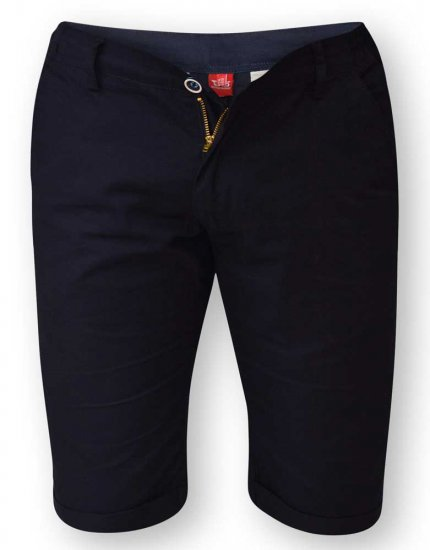 D555 PANAMA Chino Short With Side Elasticated Waist Navy - Shorts - Stora shorts W40-W60