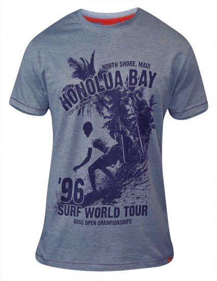 D555 CLAYTON Honolua Bay T-shirt Denim Marl - T-shirts - Stora T-shirts - 2XL-8XL