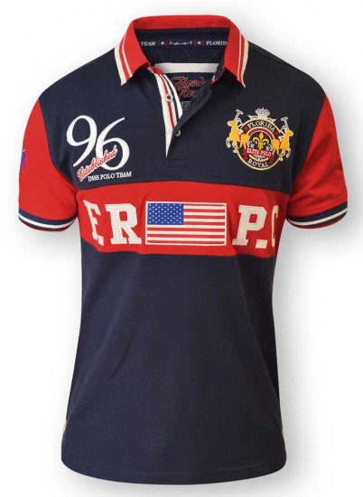 D555 ARYAN Florida Royal Racing Polo Navy/Red - Pikétröjor - Stora pikétröjor - 2XL-8XL