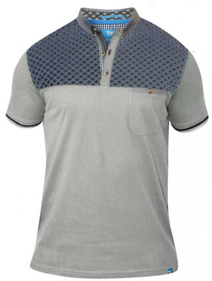 D555 MAURICE Top Paneled Short Sleeve Polo Grey - Pikétröjor - Stora pikétröjor - 2XL-8XL