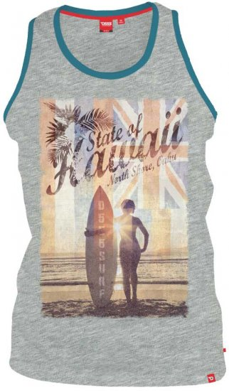 D555 CYRUS-Hawaii Fit Vest Grey - T-shirts - Stora T-shirts - 2XL-8XL