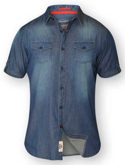 D555 DESTIN Twin Pocket Short Sleeve Vintage Denim Shirt - Skjortor - Stora skjortor - 2XL-8XL