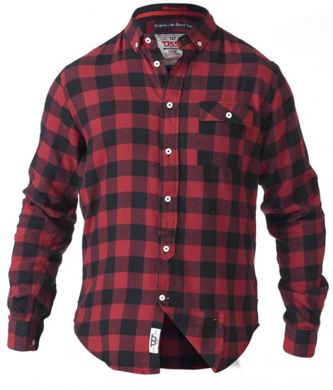 D555 Lawton LS Flannel Shirt Red - Skjortor - Stora skjortor - 2XL-8XL