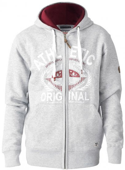 D555 Gabriel Athletic Zip Hoodie Grey - Tröjor & Hoodies - Stora hoodies - 2XL-8XL