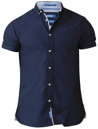 D555 Norman Short Sleeve Oxford Shirt Navy - Skjortor - Stora skjortor - 2XL-8XL