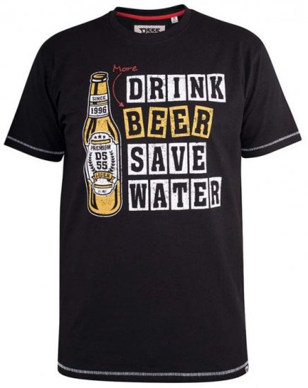 D555 Salford Save Water Drink Beer T-shirt Black - T-shirts - Stora T-shirts - 2XL-8XL