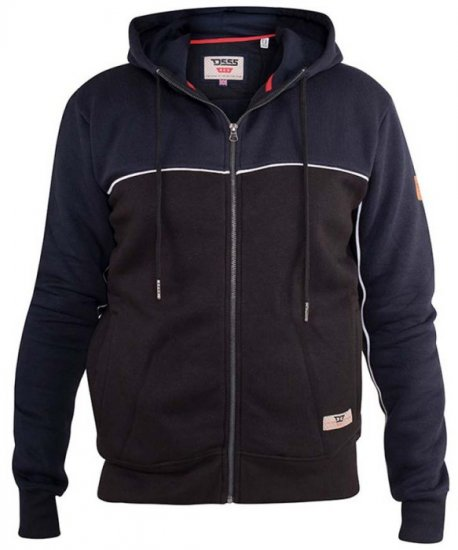 D555 Vincent Full Zip Hoody With Chest And Sleeve Piping Detail - Tröjor & Hoodies - Stora hoodies - 2XL-8XL
