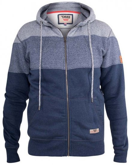 D555 Columbus Cut And Sew Panelled Zip Through Hoody Blue - Tröjor & Hoodies - Stora hoodies - 2XL-8XL