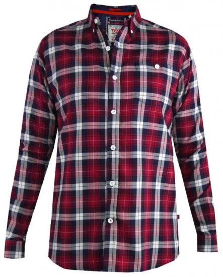 D555 Baltimore Checked Shirt Red - Skjortor - Stora skjortor - 2XL-8XL