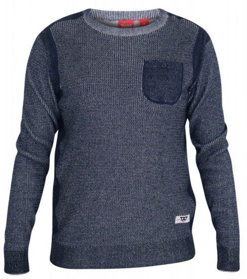 D555 Bryson Crewneck Sweater with Pocket Navy - Tröjor & Hoodies - Stora hoodies - 2XL-8XL