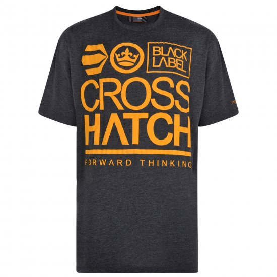 Crosshatch Large Go T-shirt Charcoal - T-shirts - Stora T-shirts - 2XL-8XL