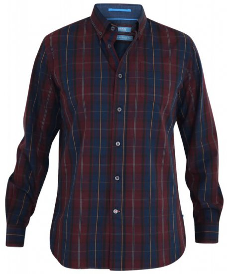 D555 Grady Long Sleeve Check Shirt - Skjortor - Stora skjortor - 2XL-8XL