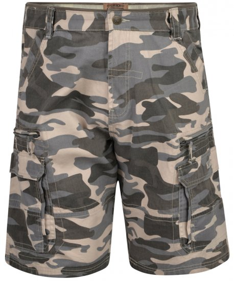 Kam Jeans 329 Short Charcoal Camo - Shorts - Stora shorts W40-W60