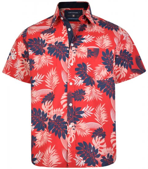 Kam Jeans 6166 Hawaii Shirt Red - Skjortor - Stora skjortor - 2XL-8XL