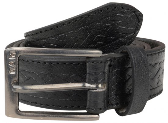 Kam Jeans 919 Weave Pattern Leather Belt Black - Bälten - Långa bälten - W40-W70/2XL-8XL