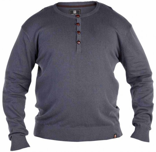 D555 Grandad Knitted Sweater Charcoal - Tröjor & Hoodies - Stora hoodies - 2XL-8XL
